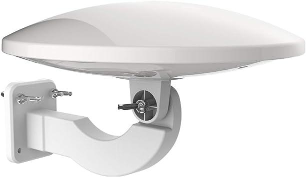 1byone Antena de TV de exteriores de 32dB con amplificador Antena aérea digital de TV Recepción de HDTV, DVB T/DVB T2 y señales analógicas, con filtro ...