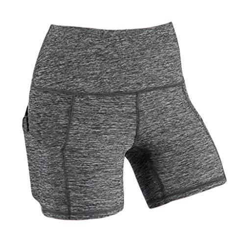 Frauen Yoga Shorts Hohe Taille Kompression Workout Running Bike Shorts Seitentaschen Lady Solide Tasche Hohe Taille Hip Stretch Unterhose Running Fitness Yoga Shorts