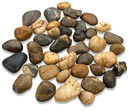 Katzco 2 Pounds Small Decorative River Rock Stones - Natural Polished Mixed Color Stones -Use in Glassware, Like Vases, Aquariums and Terrariums to Enhance The ()