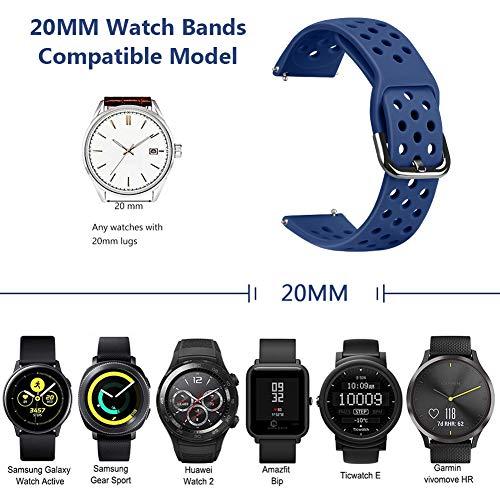 22mm Quick Release Silicone Watch Band, Runostrich Replacement Watch Straps Compatible for Galaxy 46mm, Gear S3 Frontier/Classic, Fossil Gen 5/Men's/Women Gen 4(Dark Blue+Pink Sand+Orange+White,22mm)