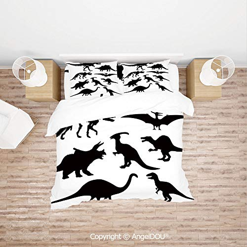 PUTIEN Durable Cotton Bedding Set (1 Duvet Covers+2 Pillowcases 1 Sheet),Prehistoric Skeleton Bone Black Silhouettes of Different Ancient Wild Dinosaurs Decorative,Quilt Cover for Women Men Bedroo