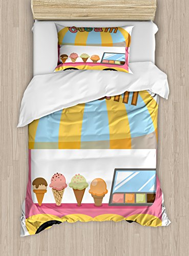 (Lunarable Ice Cream Duvet Cover Set Twin Size, Graphic Cart Stall with Different Colors and Flavors Tasty Frozen Food Storefront, Decorative 2 Piece Bedding Set with 1 Pillow Sham, Multicolor)