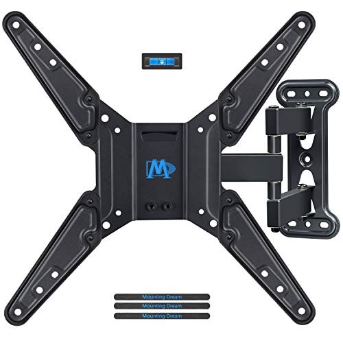 Mounting Dream Full Motion TV Wall Mounts Bracket with Perfect Center Design for 26-55 Inch LED, LCD, OLED Flat Screen TV Mount with Swivel Articulating Arm, up to VESA 400x400mm MD2413-MX