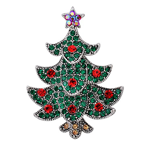 Crystal Rhinestone Christmas Tree Pin - OBONNIE Multicolor Rhinestone Crystal Christmas Tree Brooch Pin Women's Breastpin Holiday Jewelry Gift