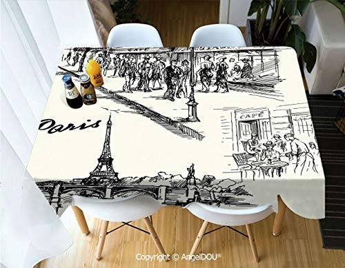 AngelDOU Waterproof Stain Resistant Lightweight Table Cover Paris Sketch Style Cafe Restaurant Landmark Canal Boat Streetlamp Retro Art Print for Camping Picnic Rectangular Table C,W55xL70(inch) ()
