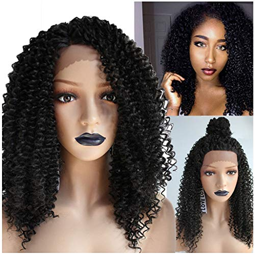 Women's Black Short Curly Wig, Lady Fashion Deep Curly Bob Wave Wigs Natural Cosplay Party Looking Hair (Black) ()