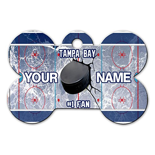 BleuReign(TM) Personalized Custom Name Hockey Team Tampa Bay License Plate Bone Shaped Metal Pet ID Tag with Contact Information