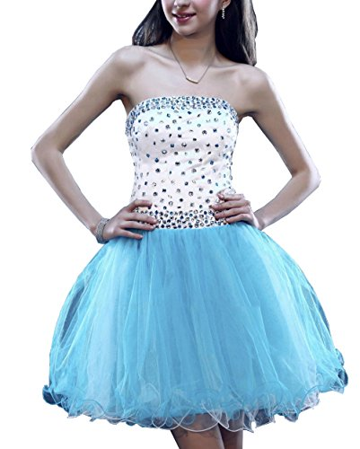 Meledy Women's 2016 Beaded Sleeveless Zipper Mini Homecoming Dress Crystal Backless Summer Junior Party Gown Blue US8 by Meledy