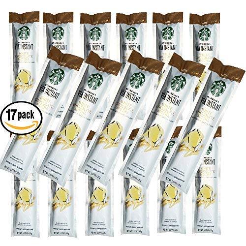 Pack of 17 - Starbucks VIA Instant White Chocolate Mocha Latte, 1.23 oz. (Packaging may vary)
