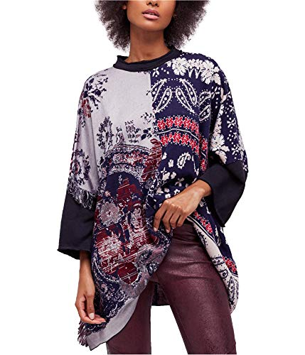 - Free People Womens Paisley Fringe Tunic Top Navy XS/S