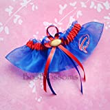 Customizable - Buffalo Bills fabric handmade on blue organza into bridal prom wedding keepsake garter with football charm