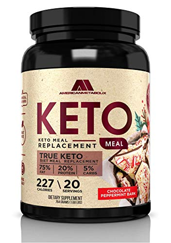 Keto Meal Replacement with Coconut Water, 20 Servings, 215 Calories, 75% F,20% p, 5% c (20 Servings) (Chocolate Peppermint Bark)