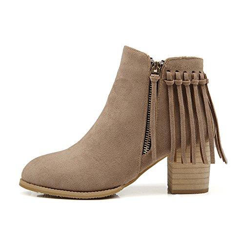Spring Damenmode Stiefel Outdoor Quaste Moderner Autumn Khaki Martin Winter Reißverschluss für mit 5rqW8g0r