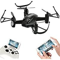 FUQI Remote Controlled Rechargeable Quadcopter Rotatable Motor Arm Drone Wifi Control HD Camera Attitude Set(Black)