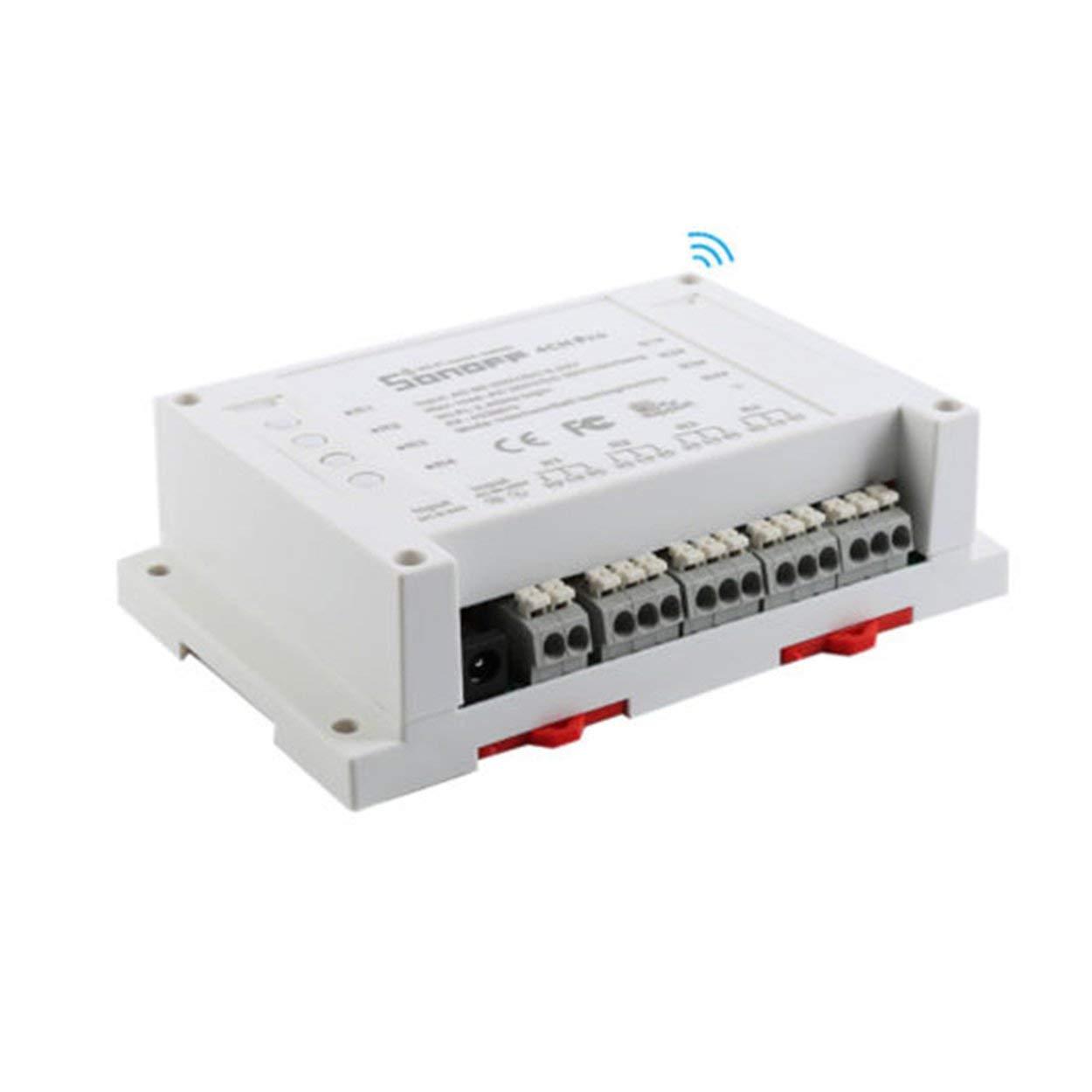 Losenlli Ajuste Sonoff Pro 4CH Montaje en riel DIN de 4 Canales WiFi Interruptor Inteligente APLICACI/ÓN de automatizaci/ón del hogar Smart WiFi Toggler Tama/ño port/átil