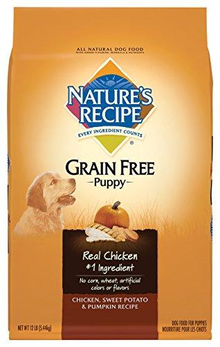 Nature's Recipe Grain Free Puppy Food, Chicken, Sweet Potato & Pumpkin Recipe Dry Dog Food, 12-Pound