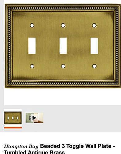 Beaded 3 Toggle Wall Plate - Tumbled Antique Brass by Hampton Bay