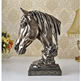 FECTY Imitation Copper Horse Ornaments, Resin Crafts Study The Living Room Bedroom Decoration Home Decoration (Size : 331543cm)