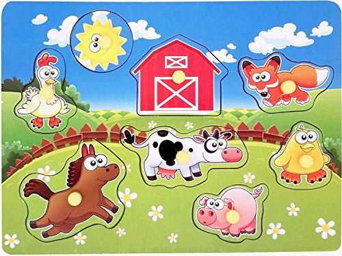 Wooden Peg Puzzle, Farm Chunky Baby Puzzles, Full-Color Pictures Wood Shape Puzzle Peg Board, Animal Knob Puzzle for Educational Toddlers 1,2,3,4 Yeas Old, 8 Pieces