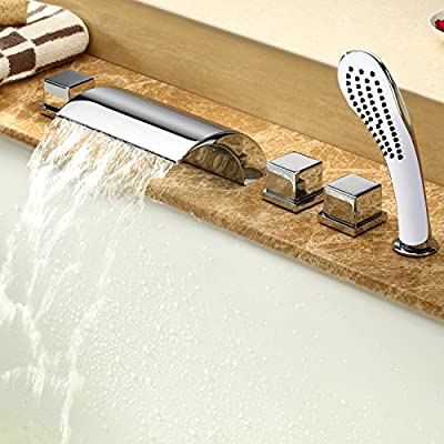 Rozin® Contemporary Modern Waterfall Brass Tub Faucet with Hand Shower Chrome Finish Two Handles Mixer Tap Sidespray Bathtub Faucet Five Holes Stainless Steel Ceramic Valve Roman Tub