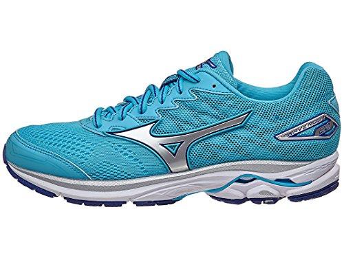 Mizuno Women's Wave Rider 20 Running Shoe, Blue Atoll/Silver, 9.5 B US