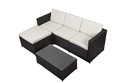 FDW Outdoor Patio Sofa Set Sectional Furniture PE Wicker Rattan Deck Couch