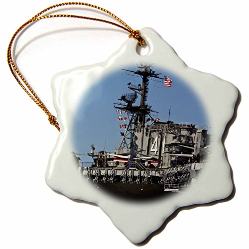 3dRose USA, California, Us Navy, USS Midway - Us05 Rdu0047 - Richard Duval - Snowflake Ornament, Porcelain, 3-Inch (orn_142819_1)