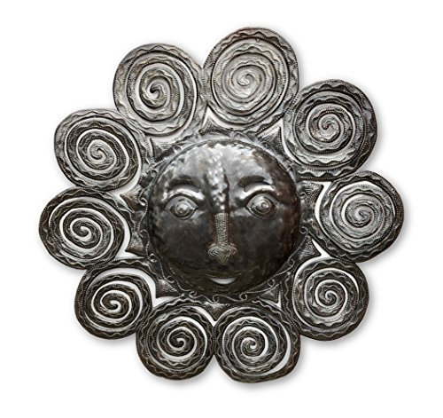 - Sun Face Metal Spiral Wall Hanging, Indoor or outdoor, Reclaimed Steel Drum from Haiti 23