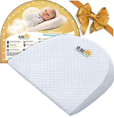 Co Universal Sleeper (Bassinet Wedge for Baby Reflux and Colic Relief by A.M. Baby | Universal Infant Incline Pillow for Reduced Spit Up for Newborn| Washable Cotton and Waterproof| Nursery Safe |)