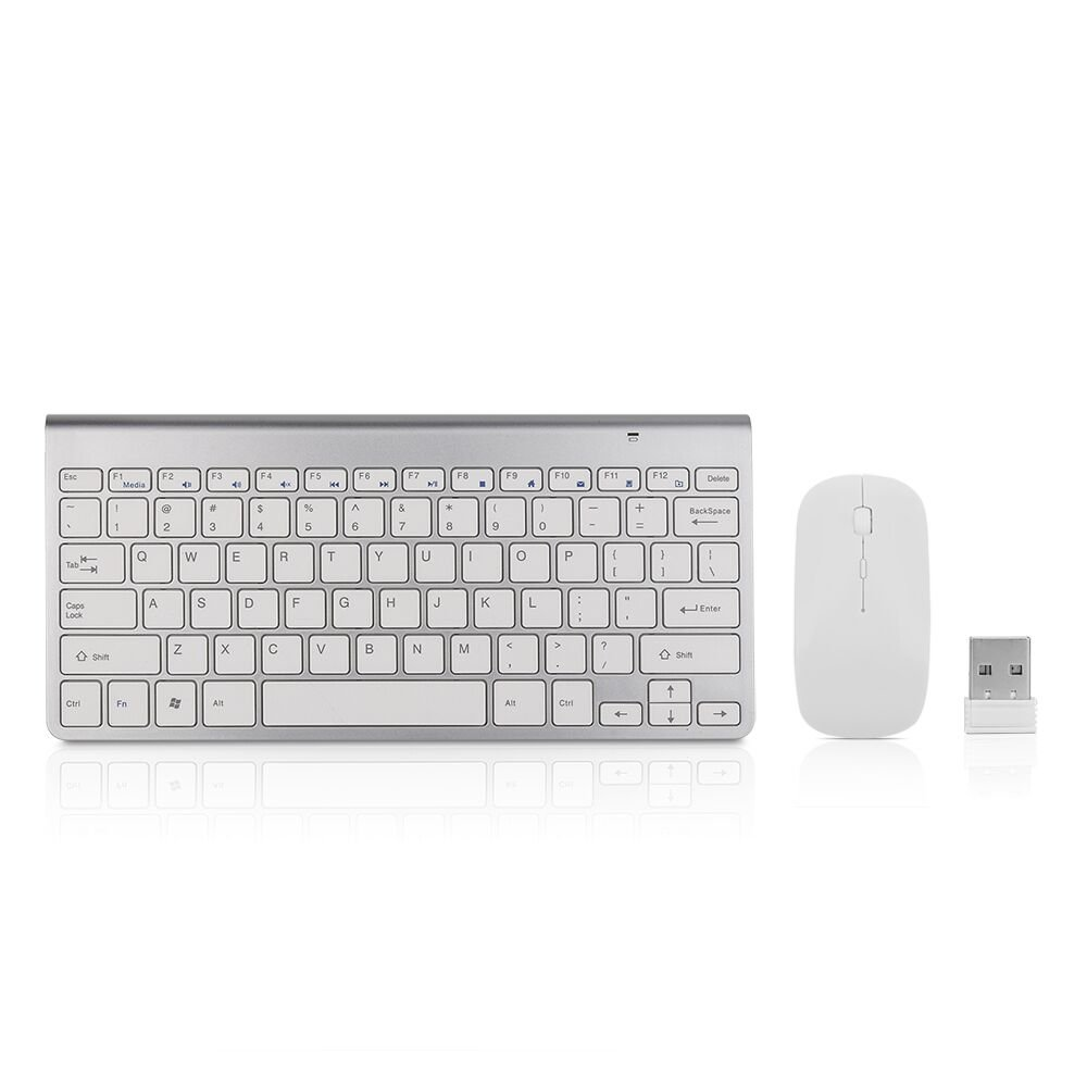 Becoler 2.4G USB Ultra-thin Slim Portable Mini Wireless Keyboard and Mouse Combo Stainless Steel Cover for Laptop Desktop Computer Smart TV Silver