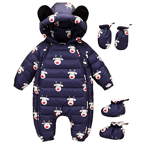 Girl Romper Warm Baby Dark Blue Baby Winter Fairy Snuggly 3 Snowsuit Pieces Boy Romper Jumpsuit 4IUwq