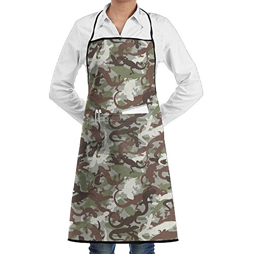 Polyester Kitchen Apron Cooking Baking Garden Chef Apron Bib With Pocket For Women House Lizard Camo