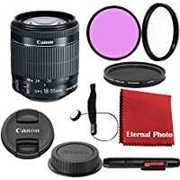 Canon EF-S 18-55mm f/3.5-5.6 IS STM DSLR Lens Bundle With Filters, Lens Cap Keeper and More