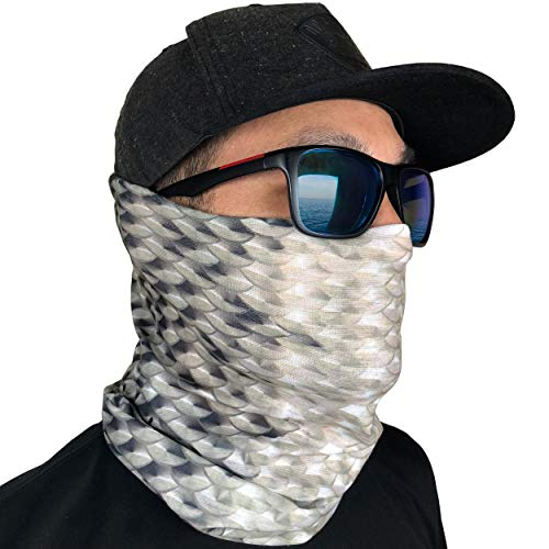 Fishing Mask Camo Headwear - Works as Fishing Sun Mask, Neck Gaiter, Headband, Bandana, Balaclava - Multifunctional Breathable Seamless Microfiber (Bone Fish)