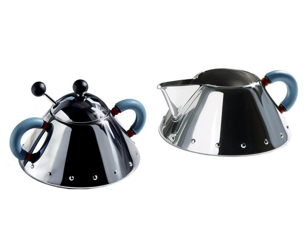 Alessi Michael Graves Series Stainless Steel Creamer & Sugar Bowl Set - Blue