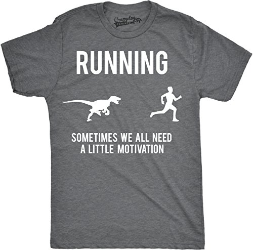 Mens Running Motivation Raptor Chase T Shirt Funny Dinosaur Tee for Guys (Dark Heather Grey) - S