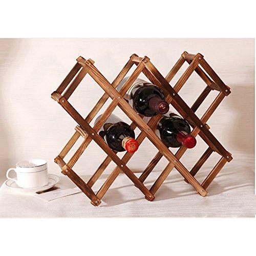 YRD TECH Wine Rack Wooden Folding Free Standing Bottles Bar Kitchen Wood Stand (A, White) Folding Liquor Cabinets
