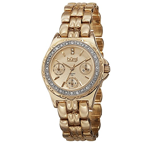 - Burgi Women's BUR117YG Diamond & Crystal Accented Guilloche Dial Yellow Gold Bracelet Watch