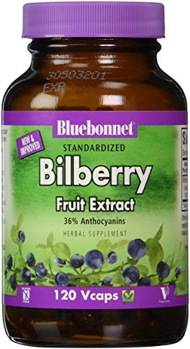 Herbals, Bilberry Extract, 80 mg, 120 Vcaps by Bluebonnet Nutrition