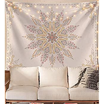 Neasow Bohemian Tapestry Wall Hanging, Beige White Floral Tapestry with Medallion Print Bedroom Boho Home Decor, WhiteSimple, Large 60×80 inches