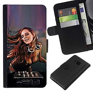 HTC One M7 , la tarjeta de Crédito Slots PU Funda de cuero Monedero caso cubierta de piel (Sexy Dj Girl)