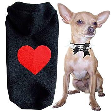 Tamaño XXS - XS - S - M - L color negro corazón rojo con capucha polar Soft Perros Jersey Ropa para Perros: Amazon.es: Productos para mascotas