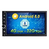 Android 8.0 Car Stereo Double Din Android Auto Octa Core 32GB+ 4GB with GPS and WiFi, Support Fastboot, Backup Camera, USB SD, MirrorLink, Aux, 7 inch Touch Screen
