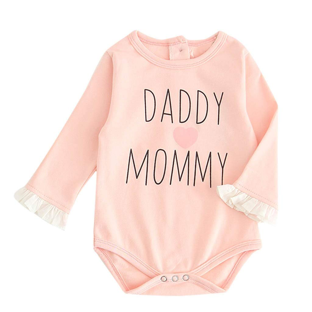 Baby Rompers,Newborn Infants Baby Girls Ruched Letter Print Patchwork Romper Bodysuit Set Age for 6-24 Months