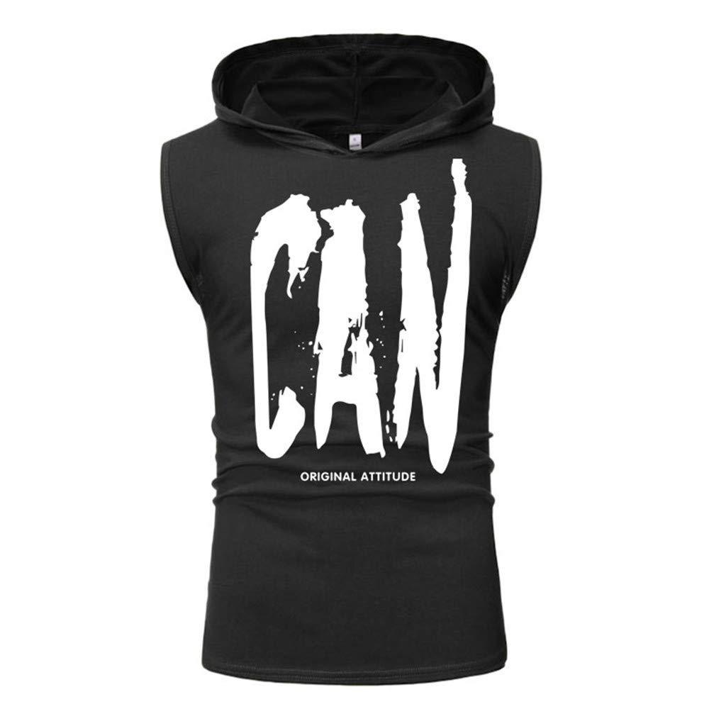 Hipster Printing Hooded for Men Casual Bodybuilding Fitness Tank Tops Gilet Waistcoat Sleeveless Sweatshirt Vest by Leegor
