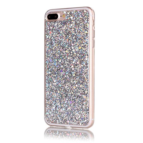 Moonmini iPhone 8 Plus Case, Ultra Slim Bling Glitter Flexible Gel TPU Silicone Bumper Soft Hybrid Back Protective Shell for iPhone 7 Plus/ iPhone 8 Plus 5.5 inch (Sliver)
