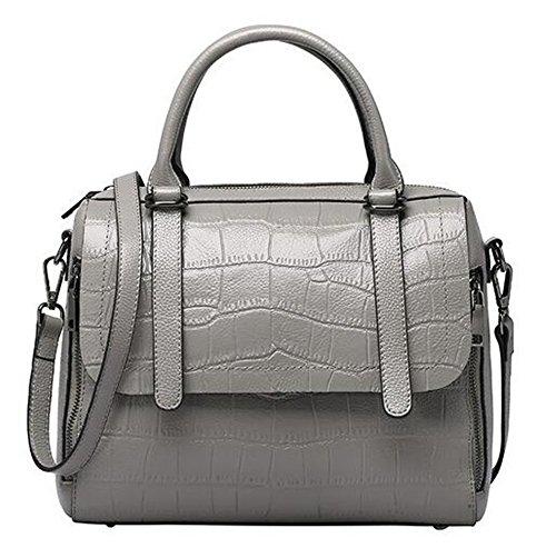 La primavera y el verano, bolsos de cuero Bolsos de cuero de cocodrilo Primera Capa patrón Bolso Messenger portátil gris