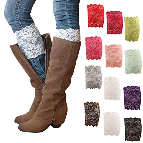 (EUBUY 1Pair Womens Stretch Lace Floral Boot Cuffs Leg Soft Laced Boot Socks Black Gold)