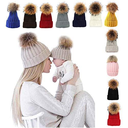 Winter Hat Women, Faux Fur Pom Pom Knitted Slouchy Beanie Hat Red 56-59cm ()