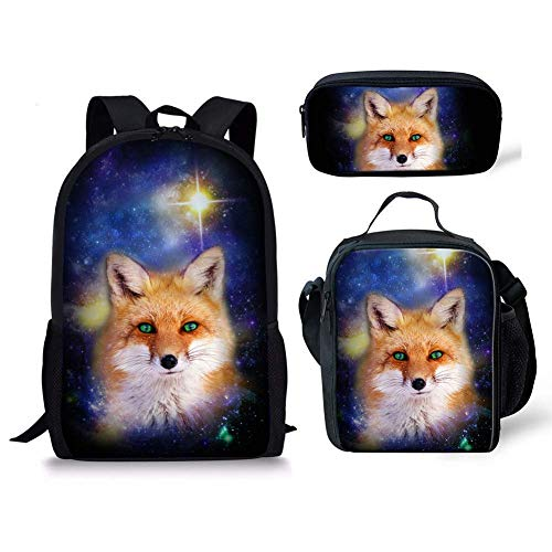 INSTANTARTS Fox Backpack Casual School Bookbag Lunch Bag and Pencil Pouch Set (Fox Backpack Blue)